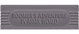 Top of cartridge artwork for Boomer's Adventure in ASMIK World on the Nintendo Game Boy.