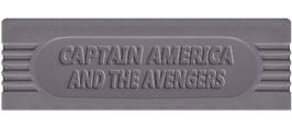 Top of cartridge artwork for Captain America and The Avengers on the Nintendo Game Boy.