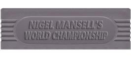 Top of cartridge artwork for Nigel Mansell's World Championship on the Nintendo Game Boy.