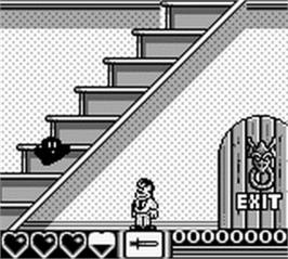 In game image of Addams Family, The on the Nintendo Game Boy.