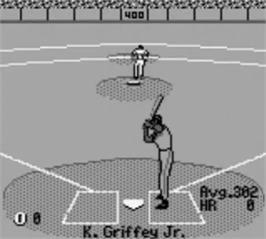 In game image of All-Star Baseball '99 on the Nintendo Game Boy.