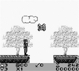 In game image of Attack of the Killer Tomatoes on the Nintendo Game Boy.