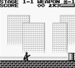 In game image of Batman: The Video Game on the Nintendo Game Boy.