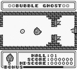 In game image of Bubble Ghost on the Nintendo Game Boy.
