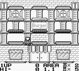 In game image of BurgerTime Deluxe on the Nintendo Game Boy.