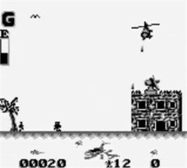 In game image of Choplifter 3 on the Nintendo Game Boy.
