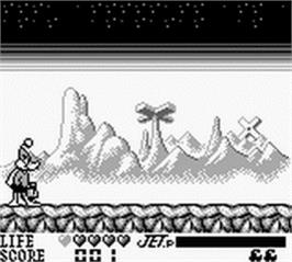 In game image of Daffy Duck: The Marvin Missions on the Nintendo Game Boy.