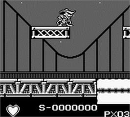 In game image of Darkwing Duck on the Nintendo Game Boy.