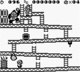 In game image of Donkey Kong on the Nintendo Game Boy.