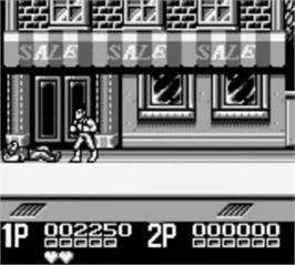 In game image of Double Dragon II - The Revenge on the Nintendo Game Boy.