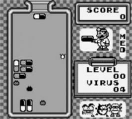 In game image of Dr. Mario on the Nintendo Game Boy.
