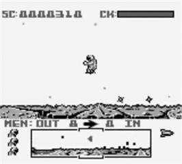 In game image of Dropzone on the Nintendo Game Boy.