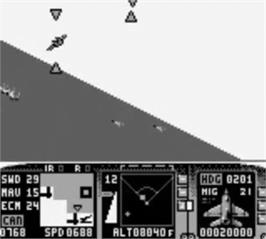 In game image of F-15 Strike Eagle on the Nintendo Game Boy.