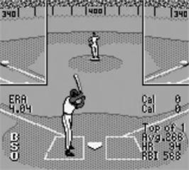 In game image of Frank Thomas' Big Hurt Baseball on the Nintendo Game Boy.