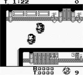 In game image of Ghostbusters II on the Nintendo Game Boy.