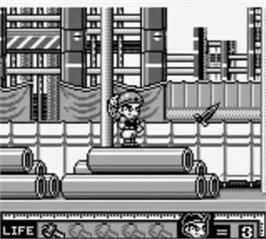 In game image of Hammerin' Harry: Ghost Building Company on the Nintendo Game Boy.