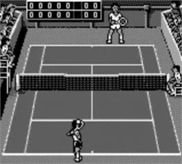 In game image of Jimmy Connors Tennis on the Nintendo Game Boy.