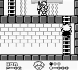 In game image of Kid Dracula on the Nintendo Game Boy.