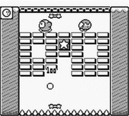 In game image of Kirby's Block Ball on the Nintendo Game Boy.