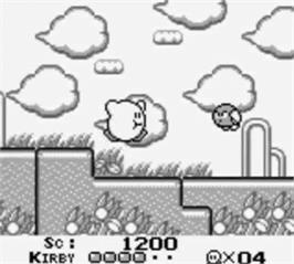 In game image of Kirby's Dream Land on the Nintendo Game Boy.