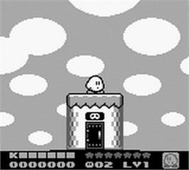In game image of Kirby's Dream Land 2 on the Nintendo Game Boy.