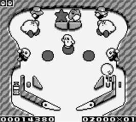 In game image of Kirby's Pinball Land on the Nintendo Game Boy.