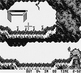 In game image of Lemmings on the Nintendo Game Boy.