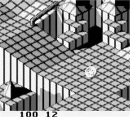 In game image of Marble Madness on the Nintendo Game Boy.