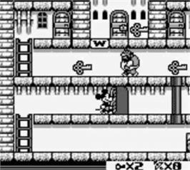 In game image of Mickey Mouse on the Nintendo Game Boy.