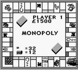 In game image of Monopoly on the Nintendo Game Boy.