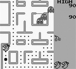 In game image of Ms. Pac-Man on the Nintendo Game Boy.