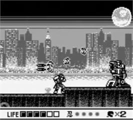 In game image of Ninja Gaiden: Shadow on the Nintendo Game Boy.