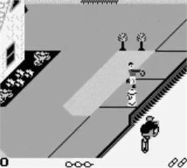 In game image of Paperboy on the Nintendo Game Boy.