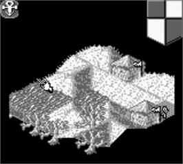 In game image of Populous on the Nintendo Game Boy.