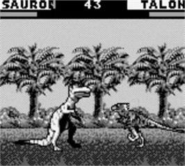 In game image of Primal Rage on the Nintendo Game Boy.