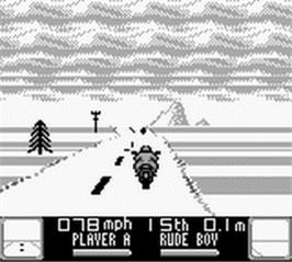 In game image of Road Rash on the Nintendo Game Boy.