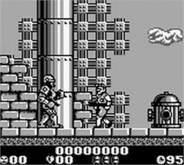 In game image of Robocop 2 on the Nintendo Game Boy.