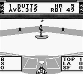 In game image of Roger Clemens MVP Baseball on the Nintendo Game Boy.