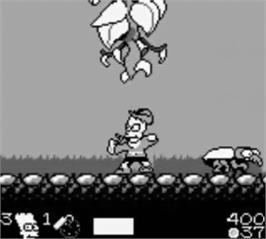 In game image of Simpsons: Bart & the Beanstalk on the Nintendo Game Boy.