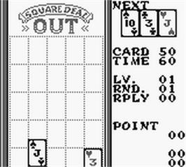 In game image of Square Deal: The Game of Two Dimensional Poker on the Nintendo Game Boy.
