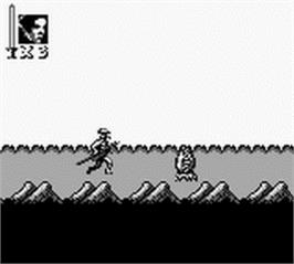 In game image of Super Star Wars: Return of the Jedi on the Nintendo Game Boy.