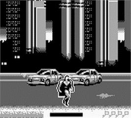 In game image of Superman on the Nintendo Game Boy.