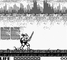 In game image of Teenage Mutant Ninja Turtles:  Fall of the Foot Clan on the Nintendo Game Boy.