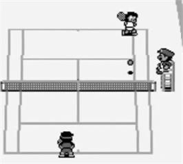 In game image of Tennis on the Nintendo Game Boy.