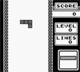 In game image of Tetris on the Nintendo Game Boy.