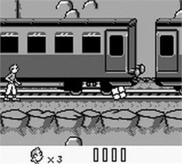 In game image of Tintin in Tibet on the Nintendo Game Boy.