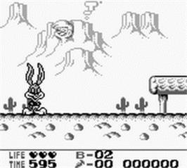 In game image of Tiny Toon Adventures 2: Montana's Movie Madness on the Nintendo Game Boy.