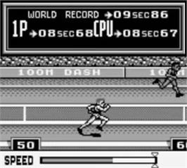 In game image of Track & Field on the Nintendo Game Boy.