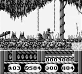 In game image of Universal Soldier on the Nintendo Game Boy.