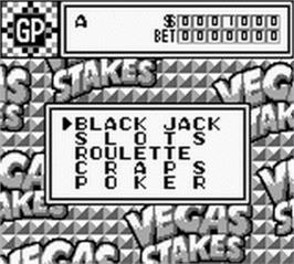 In game image of Vegas Stakes on the Nintendo Game Boy.